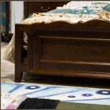 居間の家具As821bのための純木Framが付いている新しい現代本物の木の革ベッド
