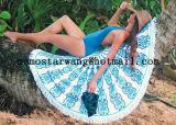 良質の円のビーチタオルのあたりで印刷される綿