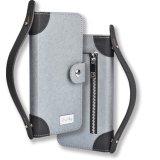 Caisse en cuir de pochette d'identification de cuir de caisse de poche d'étui d'unité centrale de C&T avec le traitement d'adhérence de confort pour l'iPhone 7 d'Apple
