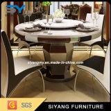 Tabela de jantar moderna do aço inoxidável do mármore do preto da mobília