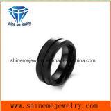 Anel de dedo chapeado preto do aço inoxidável da jóia da forma