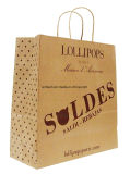 Sacos de papel impressos costume do papel de embalagem de Brown Do saco de compra com punho