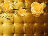 Wasserdichtes goldenes Ölgemälde des Luxus Fernsehapparat-Hintergrund-Wohnzimmer-3D