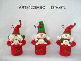 "16 ""H Santa et Snowman Head Christmas Gift Craft-3astst"