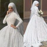 Moslemische Brautballkleid-Spitze-langes Hülsen-Hochzeits-Kleid D2216