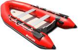 Barco inflável do PVC do vermelho rígido