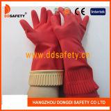 赤く長い袖口の世帯の乳液の手袋DHL442