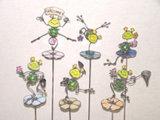 Bastone del giardino di vetro macchiato - rana
