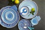 Het bPA-vrije Blauw en het Wit van het Vaatwerk van de Waren van de Plaat van het Voorgerecht van de Melamine Plastic