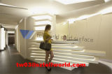 Tw L Shape Pure White LED Light Reception Counter Beauty Salon Cusotmized Design Reception Desk (TW - ACRA - 00109)
