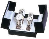 A caixa de armazenamento de couro luxuosa do indicador da embalagem do relógio com o entalhe dois para Seu-e-Dela presta atenção ao amante dos pares (W25)