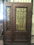Puerta hecha a mano del hierro labrado con Lite lateral