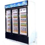 Congelador de la visualización de 3 puertas, congelador vertical de la visualización de la calidad de Hight