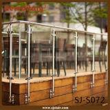 Barandilla de cristal del balcón del acero inoxidable del final de cepillo del montaje de la pared (SJ-S072)