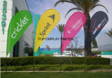 Banner Stand Pole National Outdoor National Polyester Flag Affiche publicitaire personnalisée Affichage Teardrop / Vetical / Feather / Swooper / Beach Sports Event Pole Flag