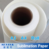 papel de impressão do t-shirt do papel de transferência do Sublimation do rolo de 100GSM A3 A4