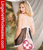 Сексуальный белый Nightwear женское бельё Babydoll планки чашки шнурка и сетки открытый