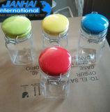 Botella de cristal de lujo del almacenaje del envase de alimento con las tapas coloridas