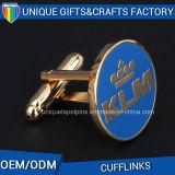 Botão de punho chapeado prata personalizado do metal do presente do logotipo