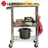 Trole da cozinha do metal do cromo das séries do NSF 3/carro do rolamento/carro de serviço público
