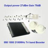 850 tri ripetitore del segnale della fascia del DCS 1800 2100MHz 27dBm