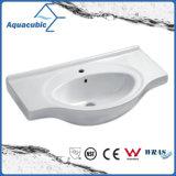 Da mão cerâmica da bacia do gabinete do banheiro dissipador de lavagem Semi-Recessed (ACB4491)