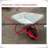 鋼鉄皿Wb6418の手押し車が付いている100つのL水容量の一輪車
