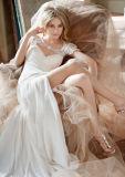 Neue Art in voller Länge a - Zeile trägerloser Organza gekräuselte weiße moslemische Hochzeits-Kleid-Abbildungen (LD1008)