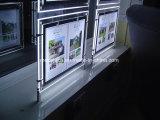 Bolsillos ligeros de acrílico del LED para la visualización de la ventana del agente de la propiedad inmobiliaria