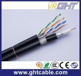 ネットワークコミュニケーションUTP Cat5eケーブルによって結合されるRG6同軸ケーブル