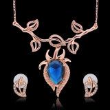 Bijou réglé d'or de PCS Rose de la mode 2 de collier de boucle d'oreille pendante de lames de cristal de Rhinestone