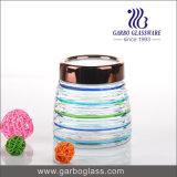 Buntes Speicherglas mit Edelstahl-Kappe