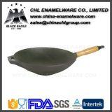 無煙非棒のエナメルの鋳鉄の中国の揚がるストーブの中華なべ