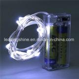 Blue Fairy Lights String Silver Wire LED AA alimentado por bateria para banquetes de casamento decorativas ao ar livre