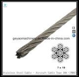 Cable revestido del acero inoxidable del vinilo 7*19 (T304) - cable de los aviones