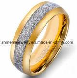 Anel de jóias de tungstênio de fibra de carbono com incrustações de prata natural
