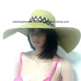 100% de paja sombrero de papel, estilo de Falbala de disquete de la manera con la cinta y de la raya de la decoración