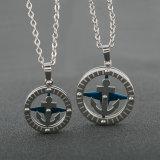 Jóias de jóias elegantes 316L aço inoxidável bússola pendente colar de âncora