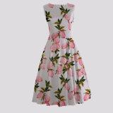 Добавочные женщины размера линия платье напечатанное лимоном малое MOQ