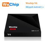 Caixa 1g/8g da tevê do Android 7.1 do núcleo do quadrilátero de Rockchip Rk3328 da caixa da tevê de Wechip V6 Kodi