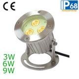 Lumière sous-marine de syndicat de prix ferme de l'acier inoxydable 9W RVB DEL (JP90034)