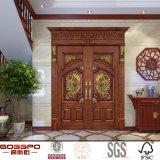 マホガニーの複式記入のドアの正面玄関の純木のドア(GSP1-017)