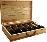 Rectángulo de madera de la alta calidad para la botella de vino con insignia modificada para requisitos particulares