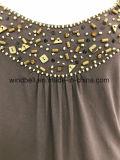 ビードを持つ女性のためのプラスのサイズのロータス袖のTシャツ