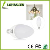 Ampola da vela morna do diodo emissor de luz do branco 60 watts equivalente com 6W E12