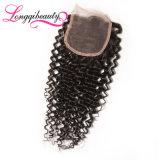 Chiusura riccia indiana non trattata originale eccellente 4*4 del merletto dei capelli umani