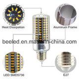 La luz E27 20W del maíz del LED calienta la lámpara de plata blanca del bulbo de la carrocería LED del color