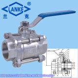 1000psi Ss304 válvula de esfera rosqueada fêmea de três partes (3PC)