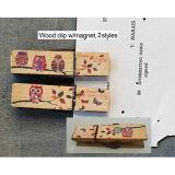 Clip de madera hecha a mano elegante chistoso promocional caliente con el imán