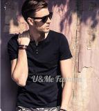 T-shirt 100% de plaine de teeshirt de collet du Spandex V de coton